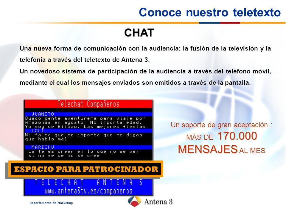 Departamento de Marketing CHAT ESPACIO PARA PATROCINADOR Una nueva forma de comunicación con la audiencia: la fusión de la televisión y la telefonía a