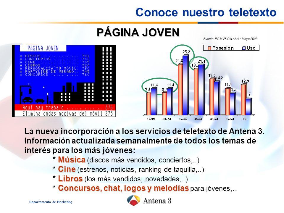 Departamento de Marketing PÁGINA JOVEN La nueva incorporación a los servicios de teletexto de Antena 3. Información actualizada semanalmente de todos