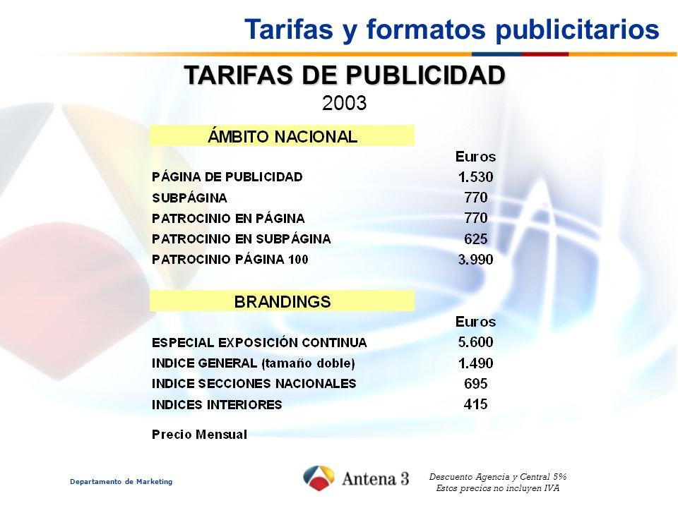 Departamento de Marketing TARIFAS DE PUBLICIDAD 2003 Descuento Agencia y Central 5% Estos precios no incluyen IVA Tarifas y formatos publicitarios