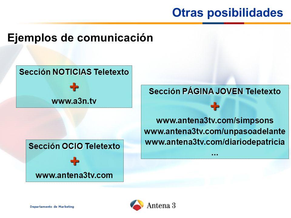 Departamento de Marketing Otras posibilidades Ejemplos de comunicación NOTICIAS Sección NOTICIAS Teletexto+ www.a3n.tv PÁGINA JOVEN Sección PÁGINA JOVEN Teletexto+ www.antena3tv.com/simpsons www.antena3tv.com/unpasoadelante www.antena3tv.com/diariodepatricia...