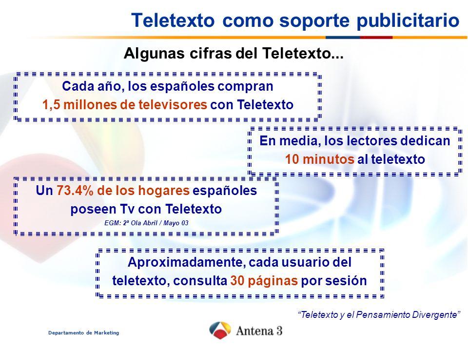 Departamento de Marketing Algunas cifras del Teletexto... Cada año, los españoles compran 1,5 millones de televisores con Teletexto En media, los lect