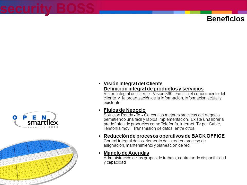 security BOSS Beneficios Visión Integral del Cliente Definición integral de productos y servicios Vision Integral del cliente - Vision 360. Facilita e
