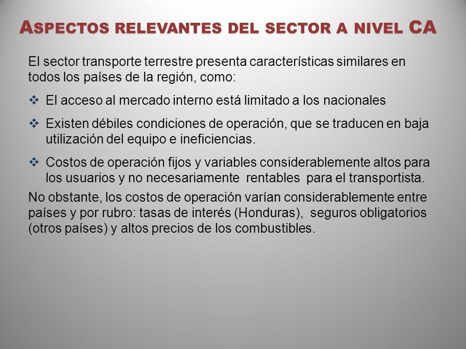 A SPECTOS RELEVANTES DEL SECTOR A NIVEL CA El sector transporte terrestre presenta características similares en todos los países de la región, como: E