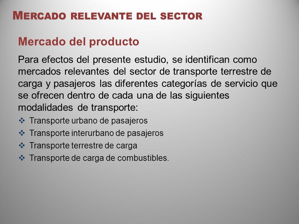 M ERCADO RELEVANTE DEL SECTOR Mercado del producto Para efectos del presente estudio, se identifican como mercados relevantes del sector de transporte