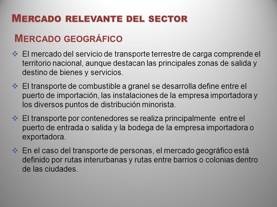 M ERCADO RELEVANTE DEL SECTOR M ERCADO GEOGRÁFICO El mercado del servicio de transporte terrestre de carga comprende el territorio nacional, aunque de