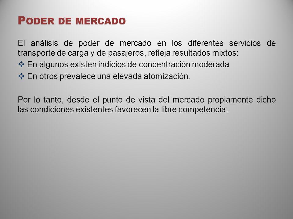 P ODER DE MERCADO El análisis de poder de mercado en los diferentes servicios de transporte de carga y de pasajeros, refleja resultados mixtos: En alg