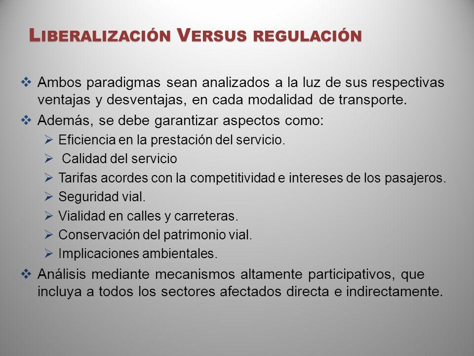 L IBERALIZACIÓN V ERSUS REGULACIÓN Ambos paradigmas sean analizados a la luz de sus respectivas ventajas y desventajas, en cada modalidad de transport