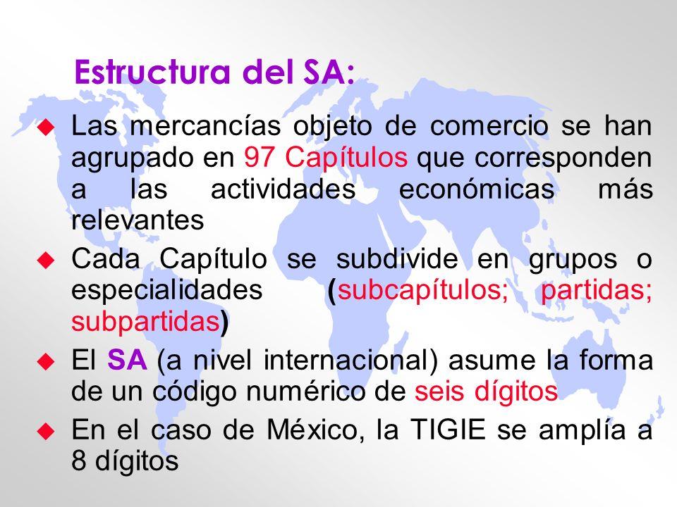Estructura del SA: u Las mercancías objeto de comercio se han agrupado en 97 Capítulos que corresponden a las actividades económicas más relevantes u