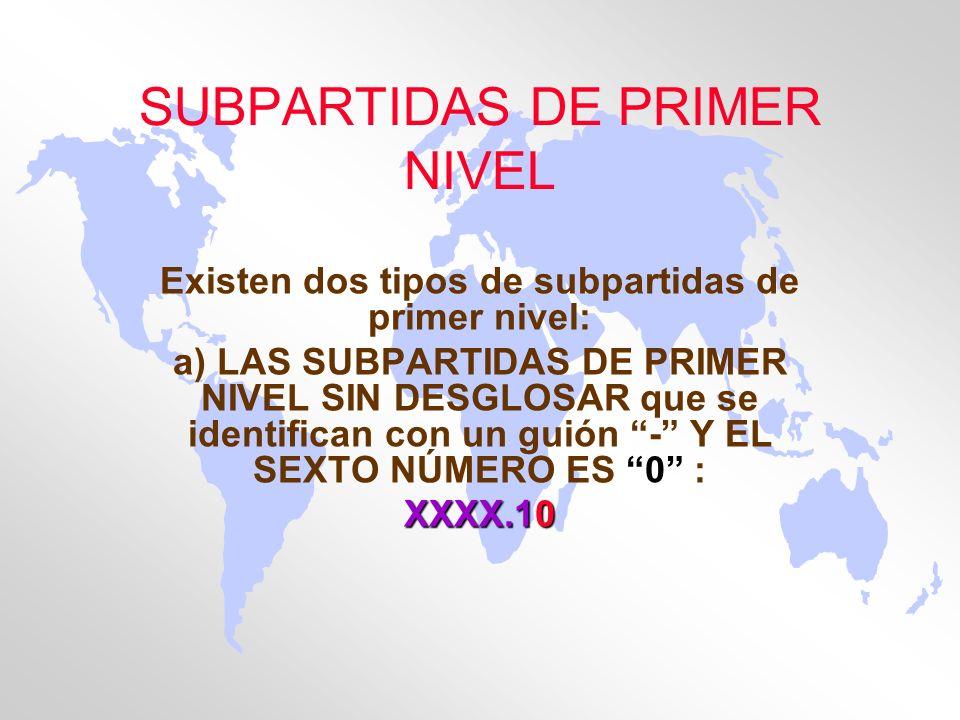 SUBPARTIDAS DE PRIMER NIVEL Existen dos tipos de subpartidas de primer nivel: a) LAS SUBPARTIDAS DE PRIMER NIVEL SIN DESGLOSAR que se identifican con