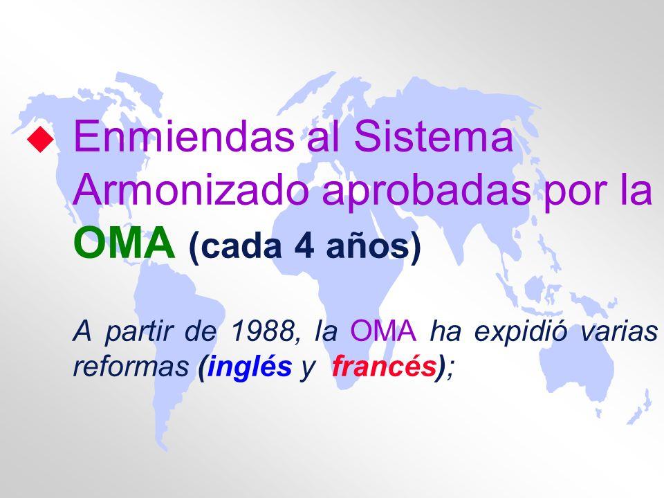 u Enmiendas al Sistema Armonizado aprobadas por la OMA (cada 4 años) A partir de 1988, la OMA ha expidió varias reformas (inglés y francés);