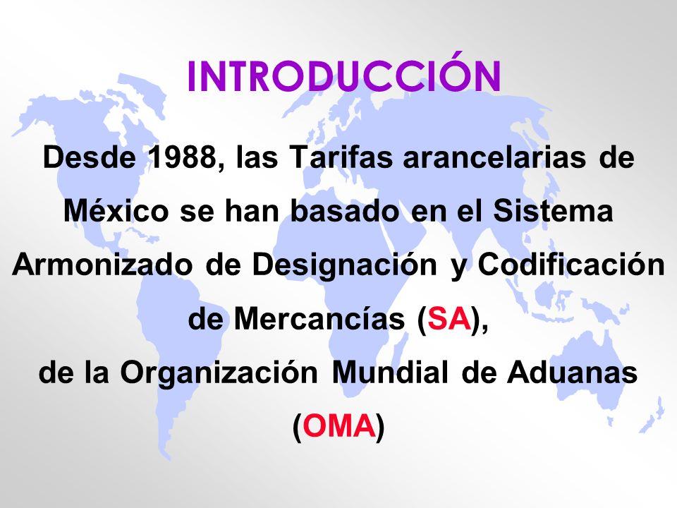 INTRODUCCIÓN Desde 1988, las Tarifas arancelarias de México se han basado en el Sistema Armonizado de Designación y Codificación de Mercancías (SA), d