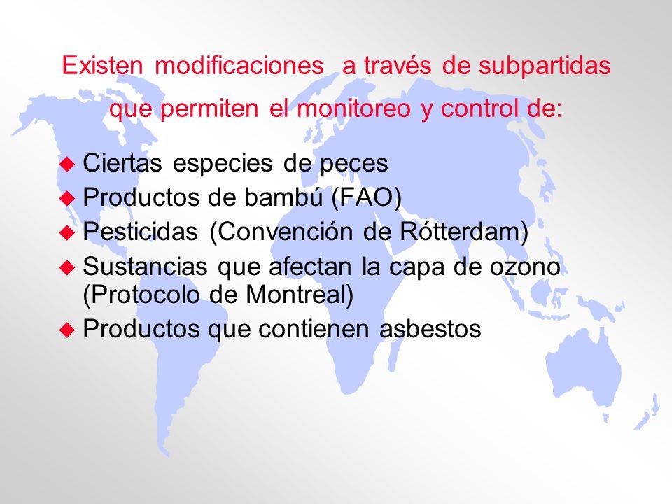 Existen modificaciones a través de subpartidas que permiten el monitoreo y control de: u Ciertas especies de peces u Productos de bambú (FAO) u Pestic