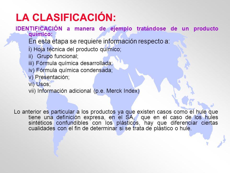 LA CLASIFICACIÓN: IDENTIFICACIÓN a manera de ejemplo tratándose de un producto químico: En esta etapa se requiere información respecto a: i ) Hoja téc