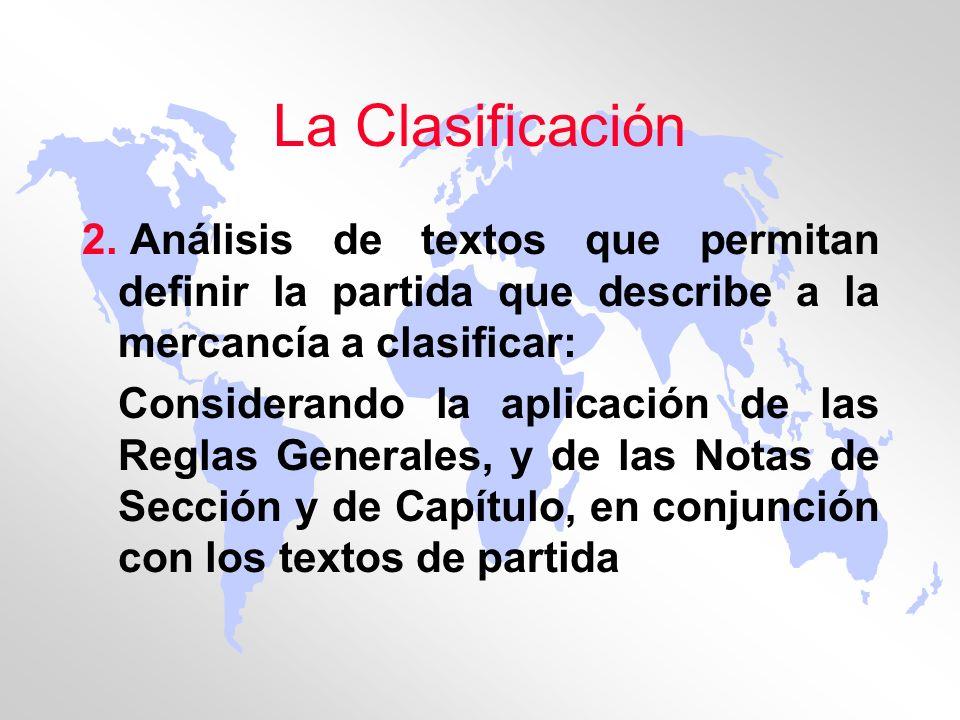 La Clasificación 2. Análisis de textos que permitan definir la partida que describe a la mercancía a clasificar: Considerando la aplicación de las Reg