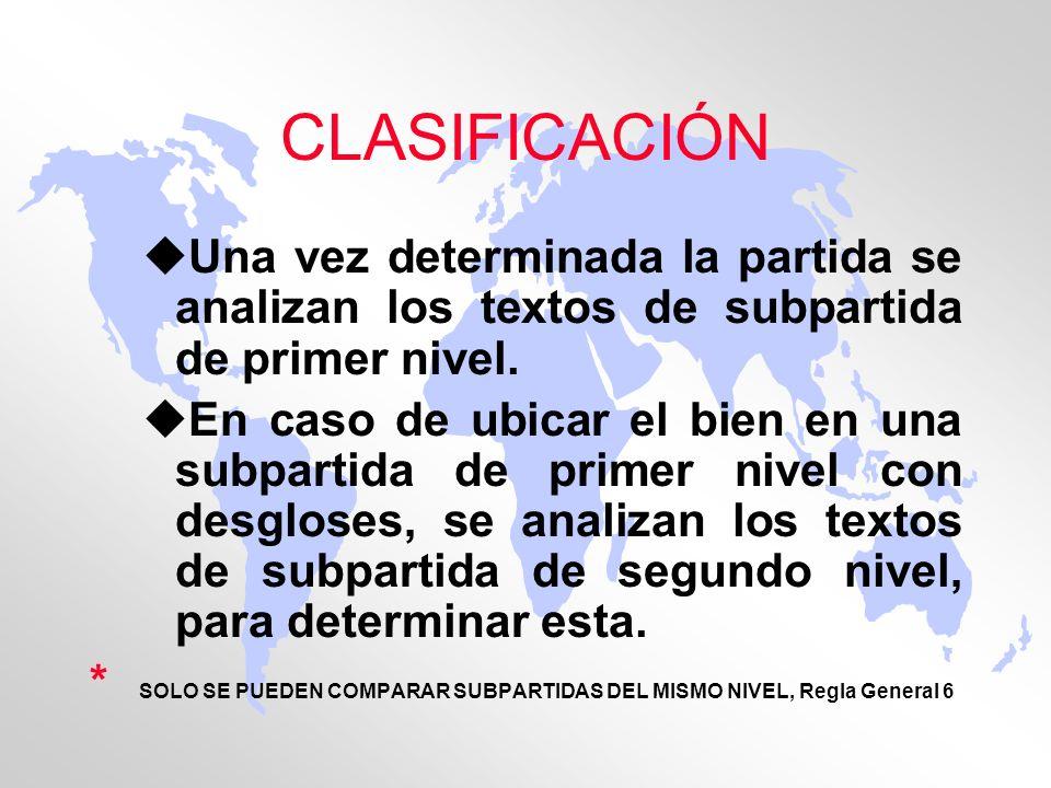 CLASIFICACIÓN uUna vez determinada la partida se analizan los textos de subpartida de primer nivel. uEn caso de ubicar el bien en una subpartida de pr