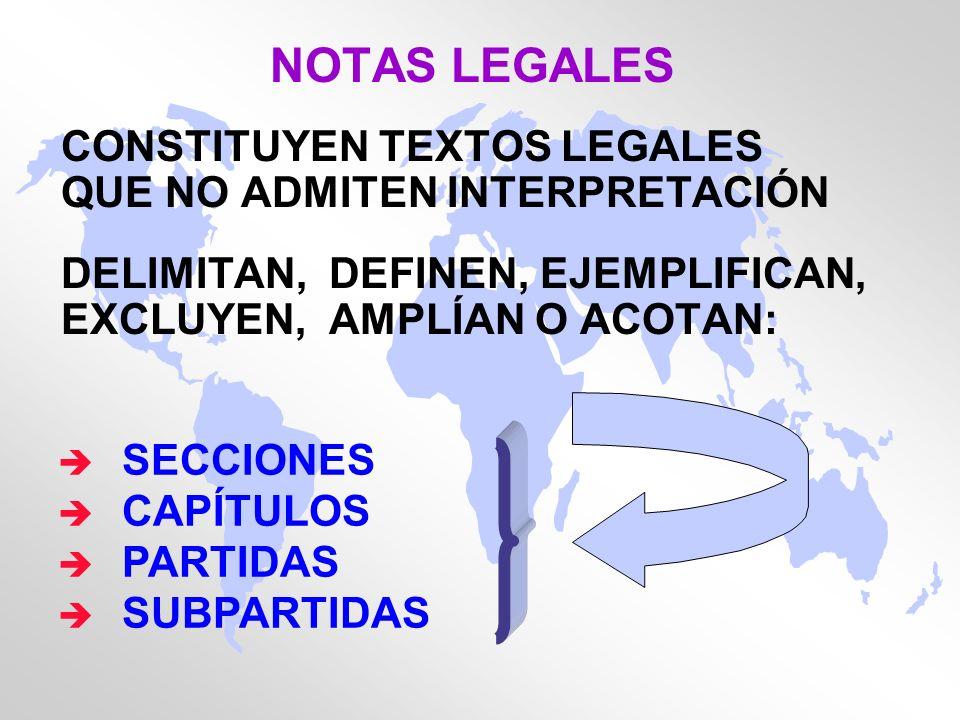 NOTAS LEGALES CONSTITUYEN TEXTOS LEGALES QUE NO ADMITEN INTERPRETACIÓN DELIMITAN, DEFINEN, EJEMPLIFICAN, EXCLUYEN, AMPLÍAN O ACOTAN: è SECCIONES è CAP
