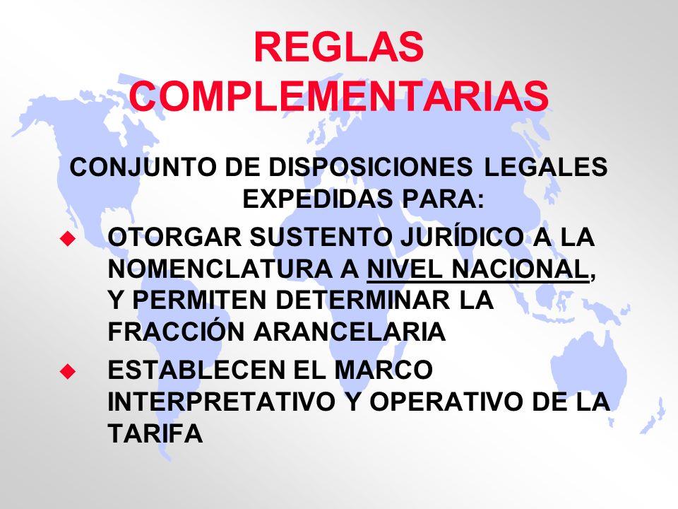 REGLAS COMPLEMENTARIAS CONJUNTO DE DISPOSICIONES LEGALES EXPEDIDAS PARA: u OTORGAR SUSTENTO JURÍDICO A LA NOMENCLATURA A NIVEL NACIONAL, Y PERMITEN DE