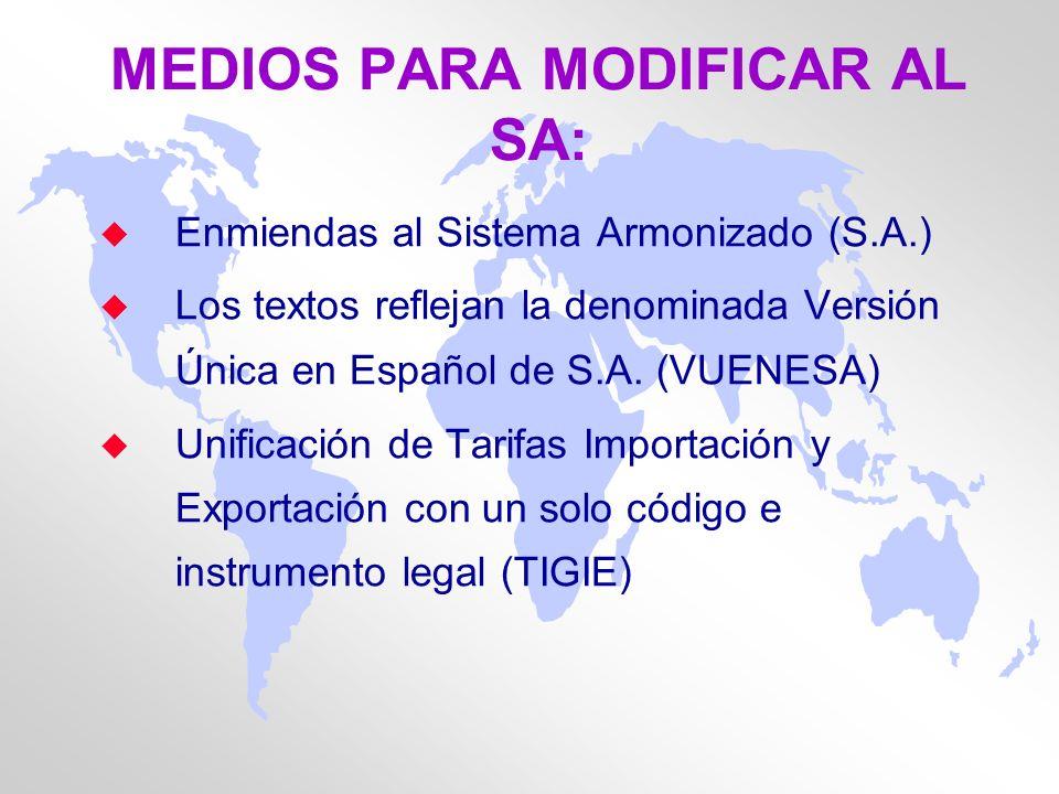 MEDIOS PARA MODIFICAR AL SA: u Enmiendas al Sistema Armonizado (S.A.) u Los textos reflejan la denominada Versión Única en Español de S.A. (VUENESA) u