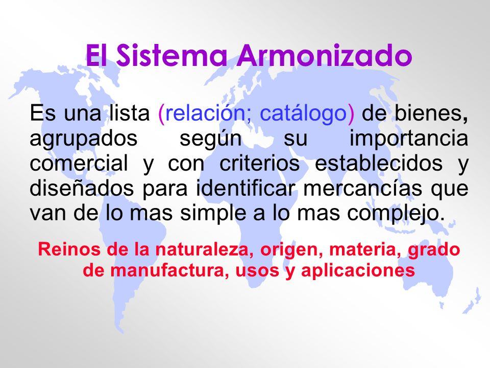 El Sistema Armonizado Es una lista (relación; catálogo) de bienes, agrupados según su importancia comercial y con criterios establecidos y diseñados p