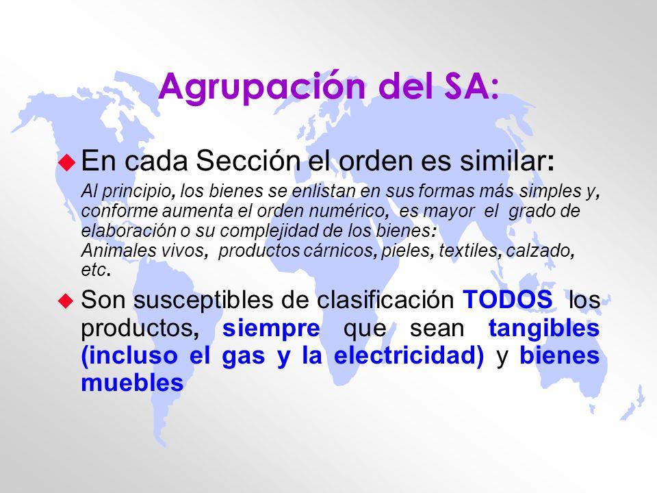 Estructura del SA: u Las mercancías objeto de comercio se han agrupado en 97 Capítulos que corresponden a las actividades económicas más relevantes u Cada Capítulo se subdivide en grupos o especialidades (subcapítulos; partidas; subpartidas) u El SA (a nivel internacional) asume la forma de un código numérico de seis dígitos u En el caso de México, la TIGIE se amplía a 8 dígitos