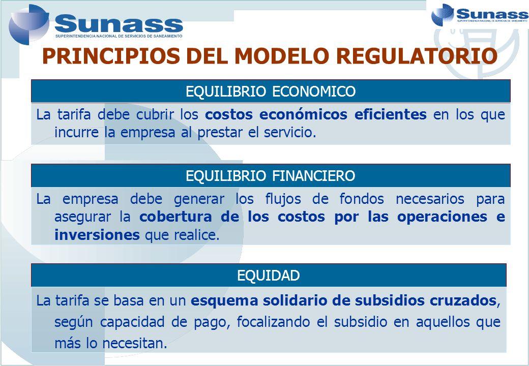 PRINCIPIOS DEL MODELO REGULATORIO EQUILIBRIO ECONOMICO La tarifa debe cubrir los costos económicos eficientes en los que incurre la empresa al prestar el servicio.
