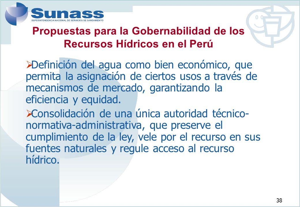 38 Definición del agua como bien económico, que permita la asignación de ciertos usos a través de mecanismos de mercado, garantizando la eficiencia y equidad.