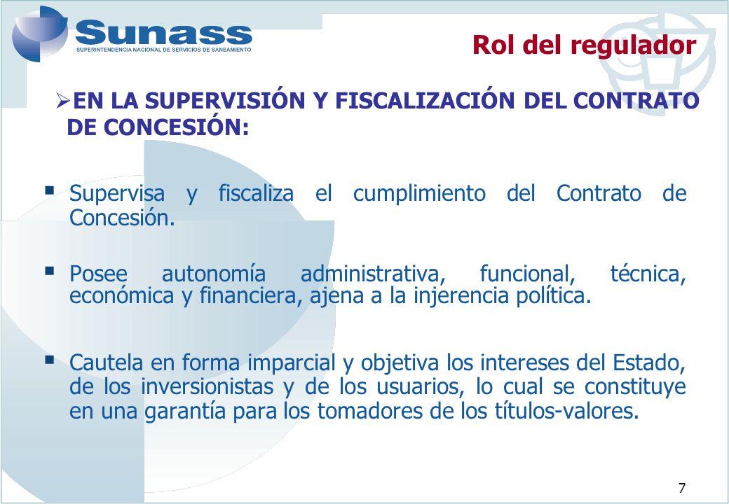 7 EN LA SUPERVISIÓN Y FISCALIZACIÓN DEL CONTRATO DE CONCESIÓN: Supervisa y fiscaliza el cumplimiento del Contrato de Concesión.