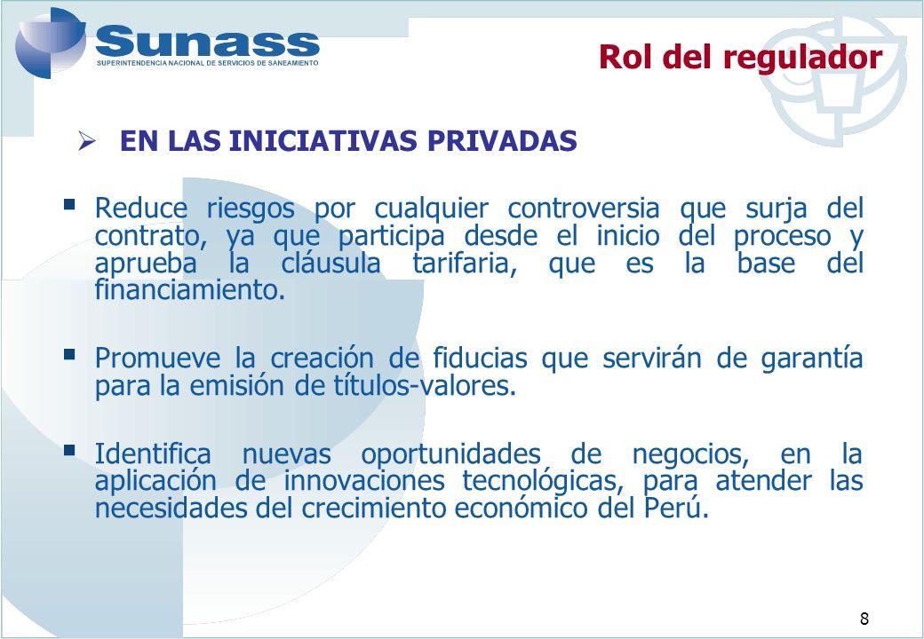 8 EN LAS INICIATIVAS PRIVADAS Reduce riesgos por cualquier controversia que surja del contrato, ya que participa desde el inicio del proceso y aprueba la cláusula tarifaria, que es la base del financiamiento.