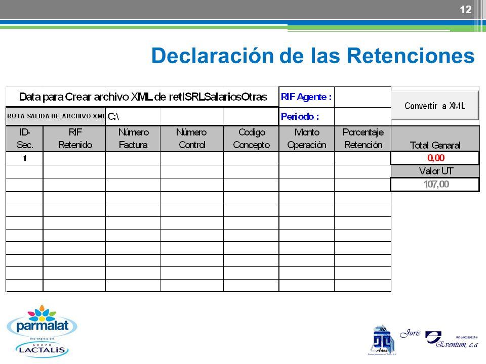 Declaración de las Retenciones 12
