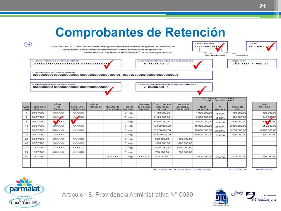 Comprobantes de Retención 21 Artículo 18. Providencia Administrativa N° 0030