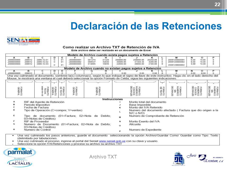 Declaración de las Retenciones Archivo TXT 22