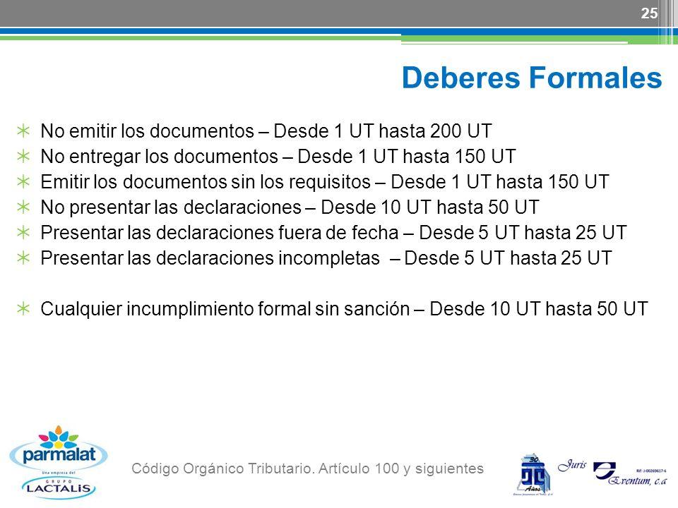 Deberes Formales No emitir los documentos – Desde 1 UT hasta 200 UT No entregar los documentos – Desde 1 UT hasta 150 UT Emitir los documentos sin los