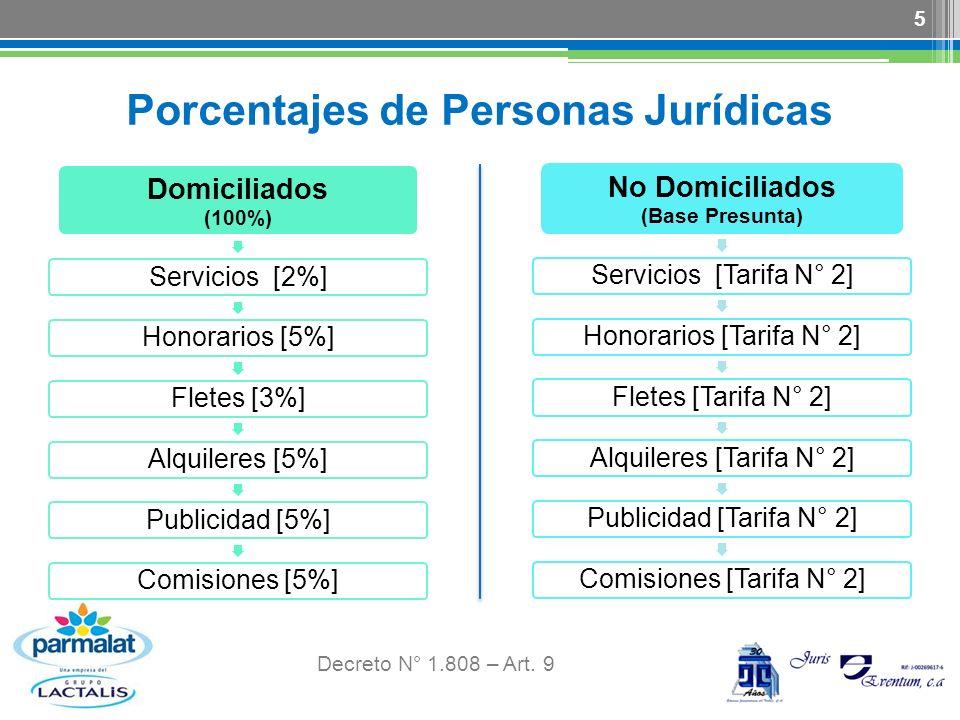 Porcentajes de Personas Jurídicas Decreto N° 1.808 – Art. 9 5 Domiciliados (100%) Servicios [2%]Honorarios [5%]Fletes [3%]Alquileres [5%]Publicidad [5