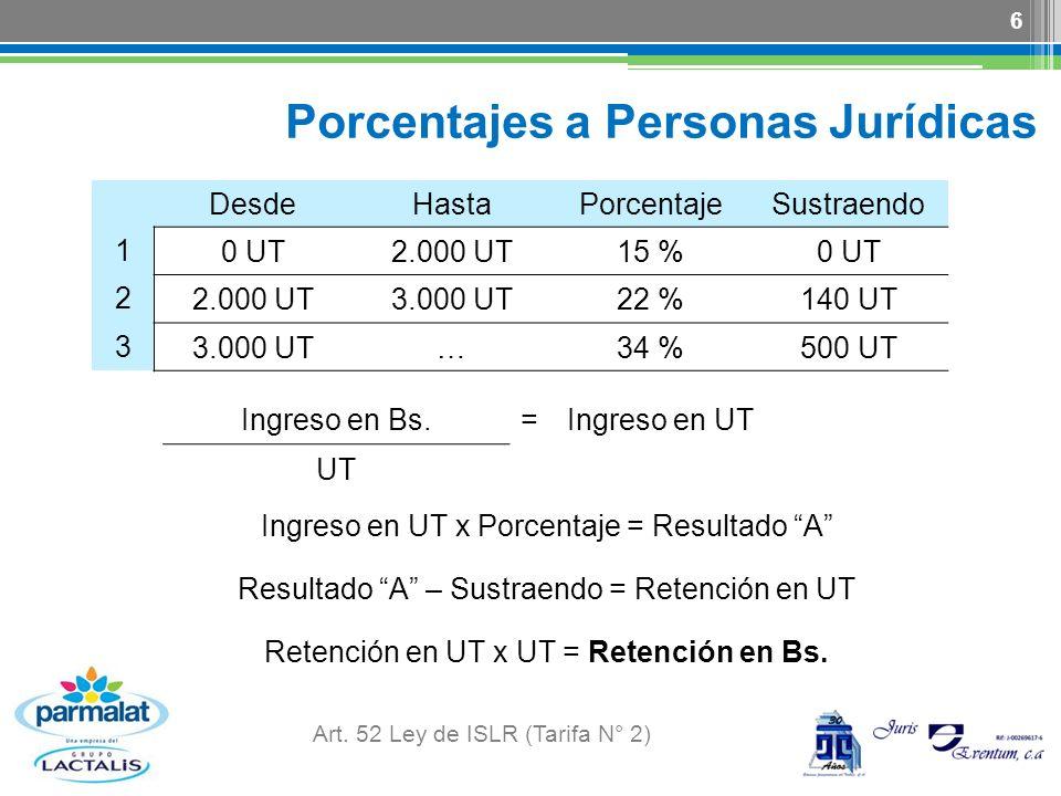 Porcentajes a Personas Jurídicas Art. 52 Ley de ISLR (Tarifa N° 2) 6 DesdeHastaPorcentajeSustraendo 1 0 UT2.000 UT15 %0 UT 2 2.000 UT3.000 UT22 %140 U