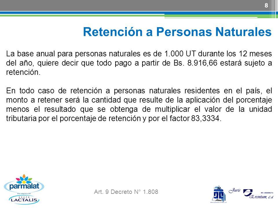 Retención a Personas Naturales La base anual para personas naturales es de 1.000 UT durante los 12 meses del año, quiere decir que todo pago a partir