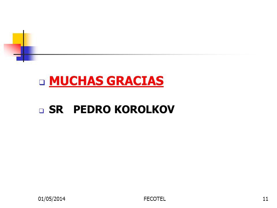 01/05/2014FECOTEL11 MUCHAS GRACIAS SR PEDRO KOROLKOV