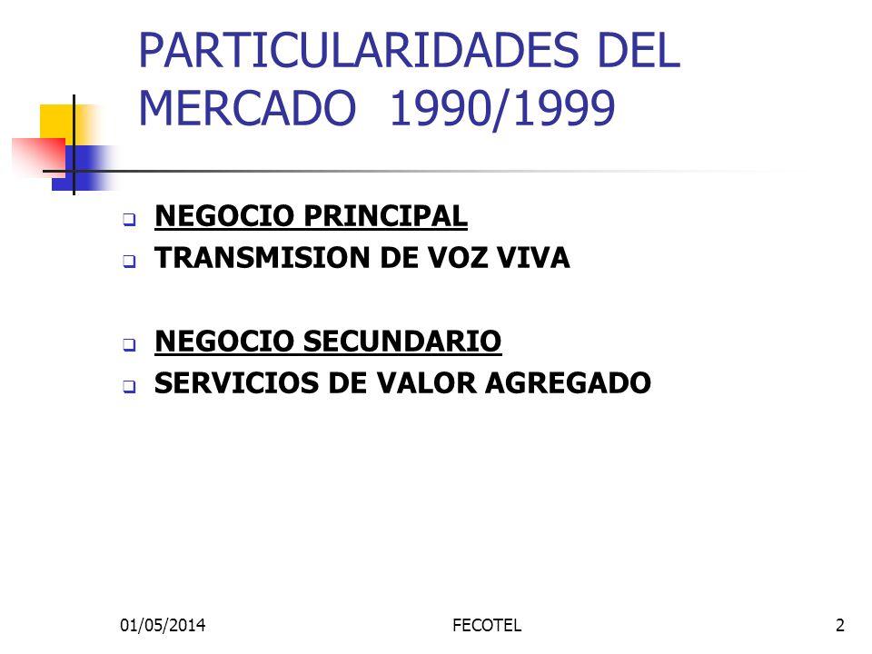 01/05/2014FECOTEL2 PARTICULARIDADES DEL MERCADO 1990/1999 NEGOCIO PRINCIPAL TRANSMISION DE VOZ VIVA NEGOCIO SECUNDARIO SERVICIOS DE VALOR AGREGADO