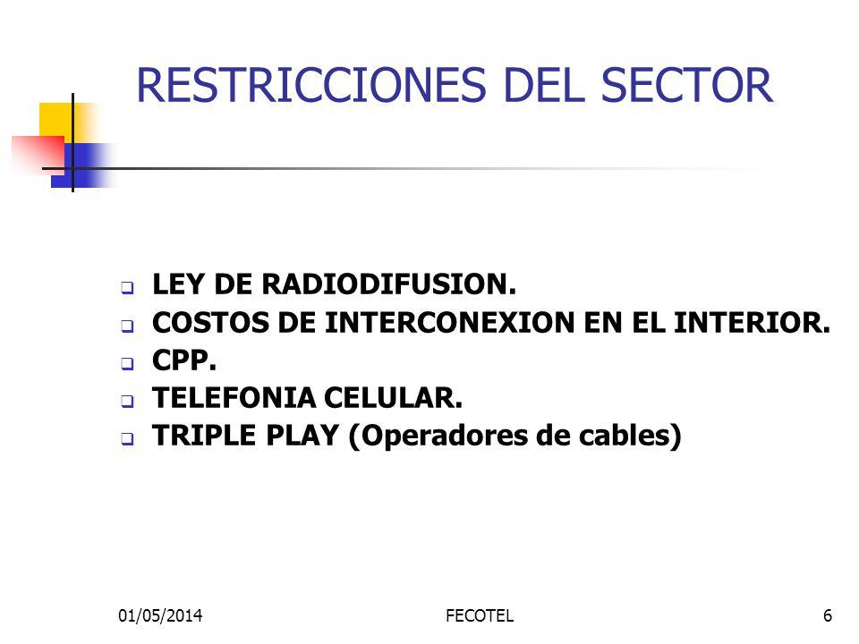 01/05/2014FECOTEL6 RESTRICCIONES DEL SECTOR LEY DE RADIODIFUSION. COSTOS DE INTERCONEXION EN EL INTERIOR. CPP. TELEFONIA CELULAR. TRIPLE PLAY (Operado