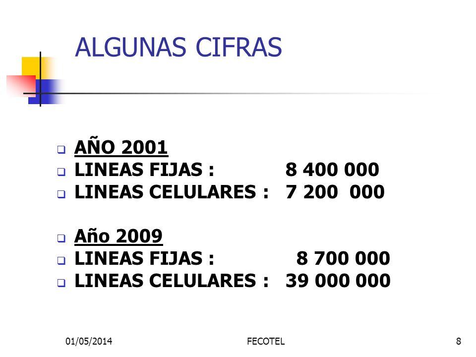 01/05/2014FECOTEL8 ALGUNAS CIFRAS AÑO 2001 LINEAS FIJAS : 8 400 000 LINEAS CELULARES : 7 200 000 Año 2009 LINEAS FIJAS : 8 700 000 LINEAS CELULARES :