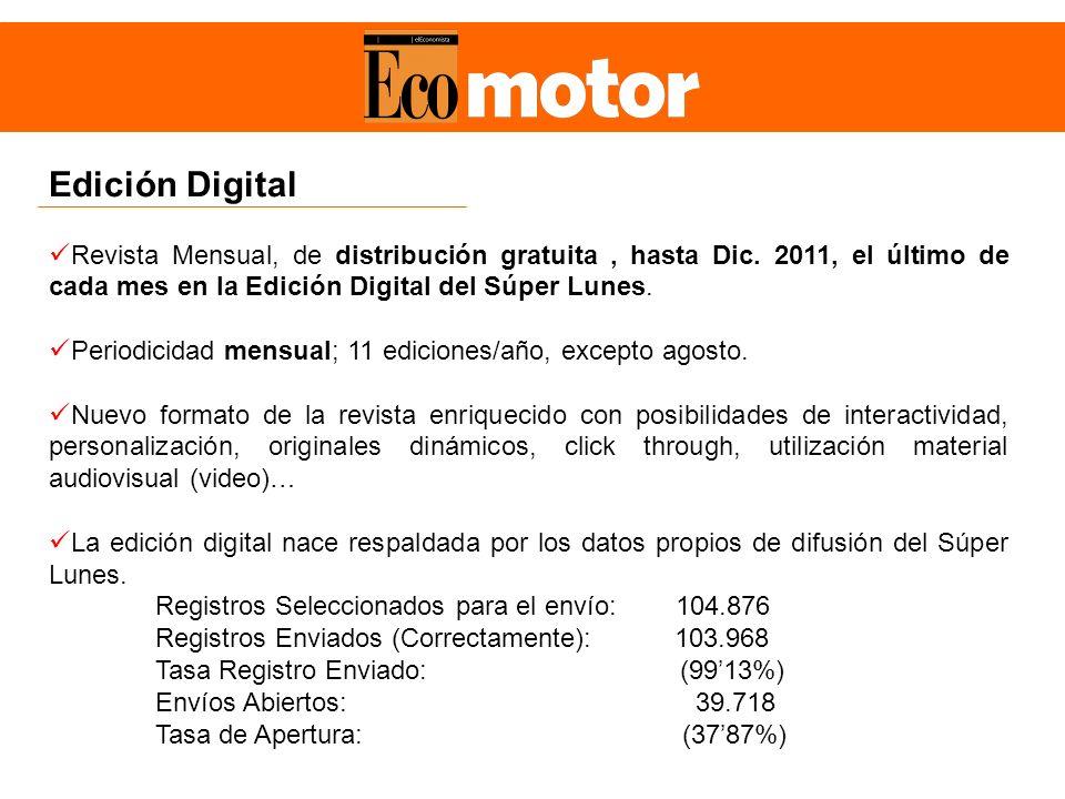 Edición Digital Revista Mensual, de distribución gratuita, hasta Dic. 2011, el último de cada mes en la Edición Digital del Súper Lunes. Periodicidad