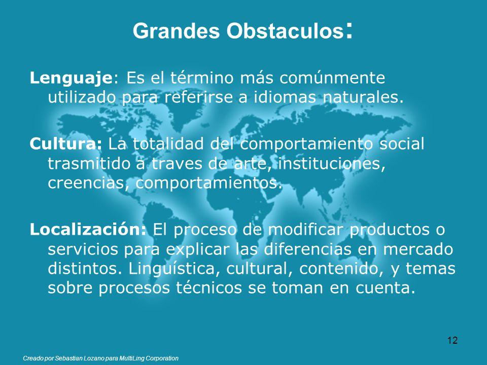 Creado por Sebastian Lozano para MultiLing Corporation Grandes Obstaculos : Lenguaje: Es el término más comúnmente utilizado para referirse a idiomas