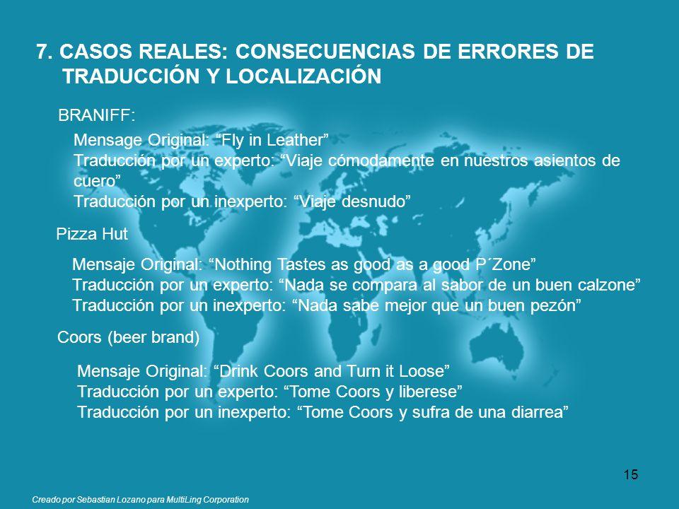 Creado por Sebastian Lozano para MultiLing Corporation 7. CASOS REALES: CONSECUENCIAS DE ERRORES DE TRADUCCIÓN Y LOCALIZACIÓN BRANIFF: Mensage Origina