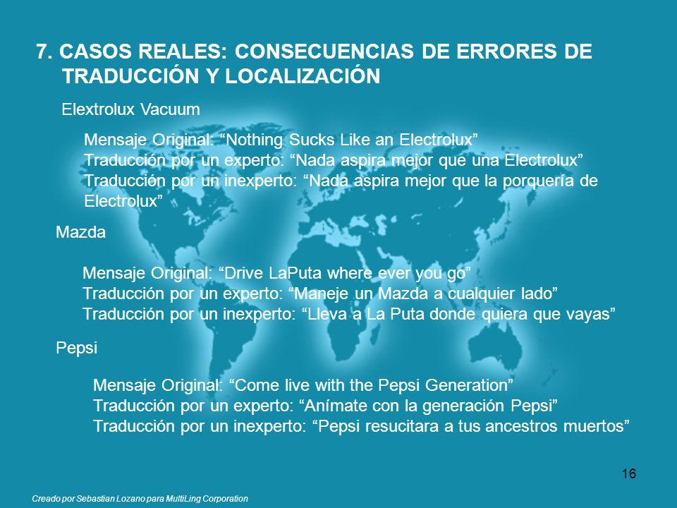 Creado por Sebastian Lozano para MultiLing Corporation 7. CASOS REALES: CONSECUENCIAS DE ERRORES DE TRADUCCIÓN Y LOCALIZACIÓN Elextrolux Vacuum Mensaj