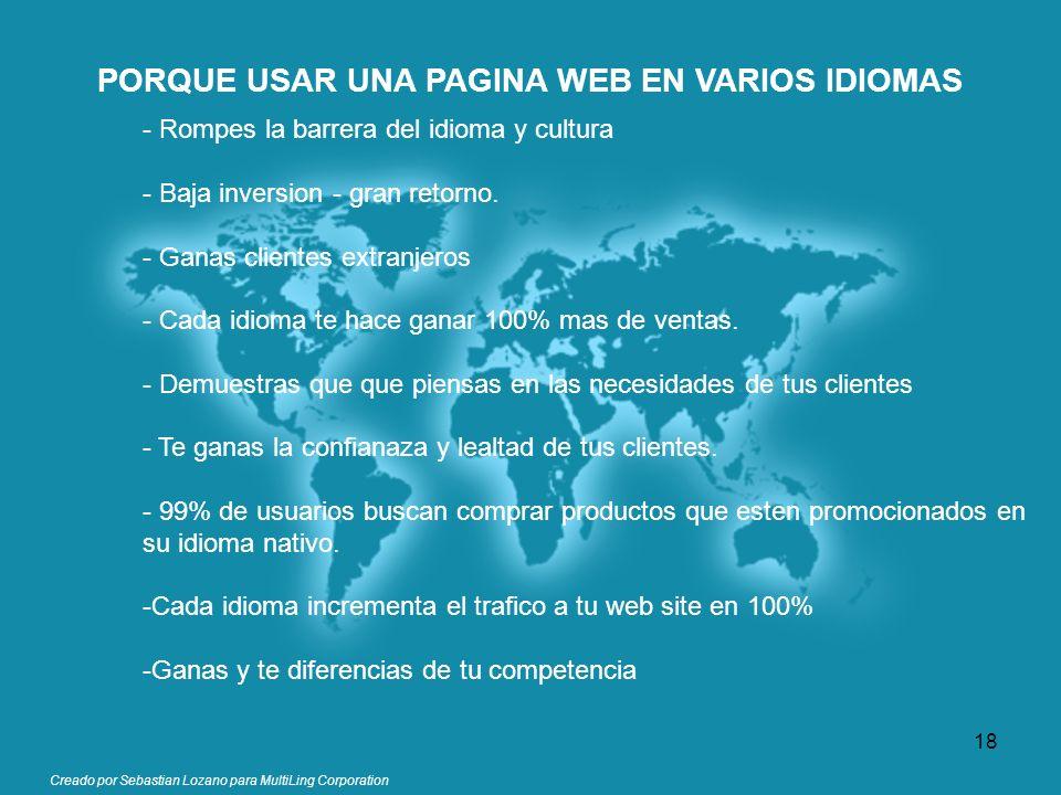 Creado por Sebastian Lozano para MultiLing Corporation PORQUE USAR UNA PAGINA WEB EN VARIOS IDIOMAS - Rompes la barrera del idioma y cultura - Baja in