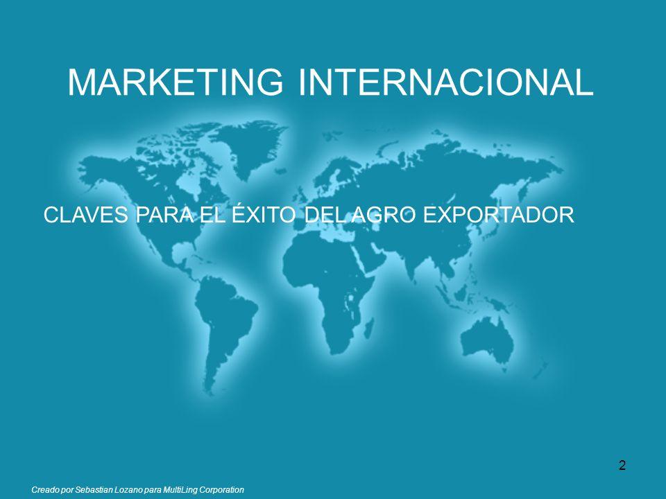 Creado por Sebastian Lozano para MultiLing Corporation MARKETING INTERNACIONAL CLAVES PARA EL ÉXITO DEL AGRO EXPORTADOR 2