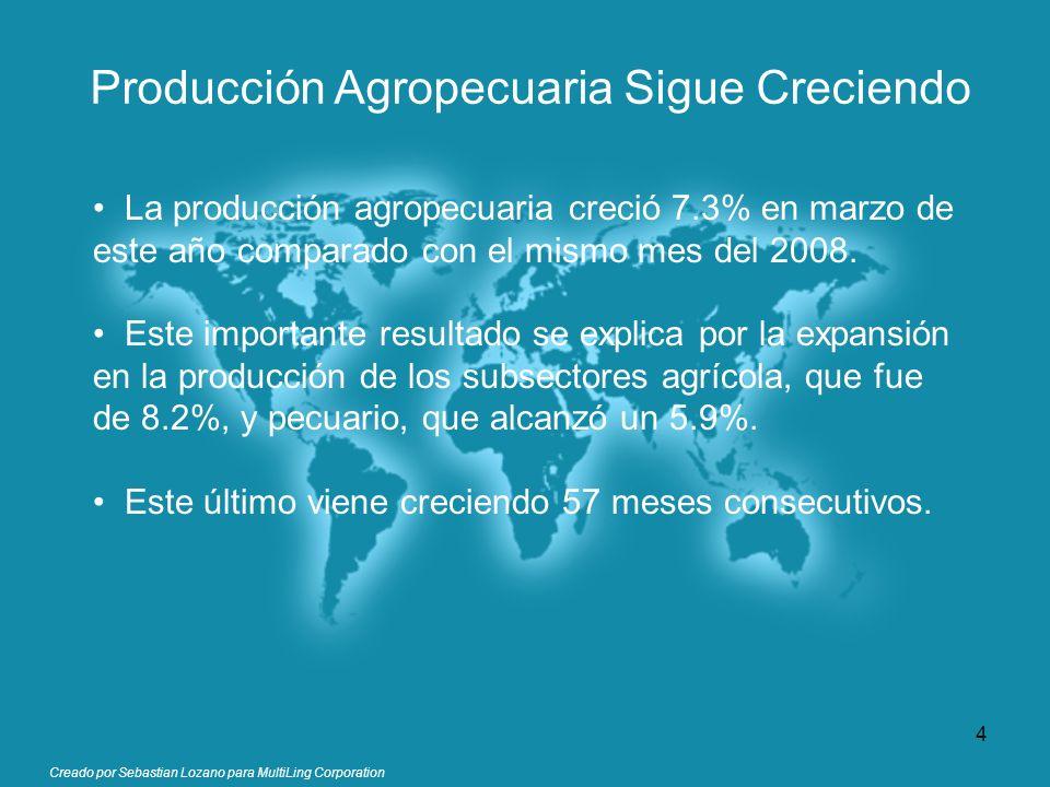 Creado por Sebastian Lozano para MultiLing Corporation Producción Agropecuaria Sigue Creciendo La producción agropecuaria creció 7.3% en marzo de este