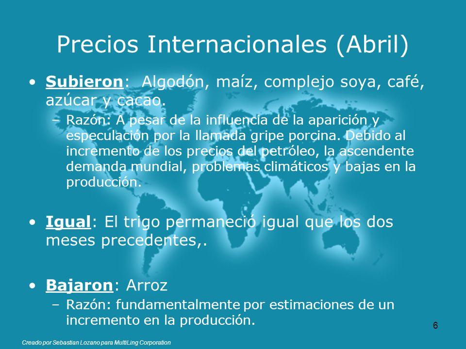 Creado por Sebastian Lozano para MultiLing Corporation Precios Internacionales (Abril) Subieron: Algodón, maíz, complejo soya, café, azúcar y cacao. –
