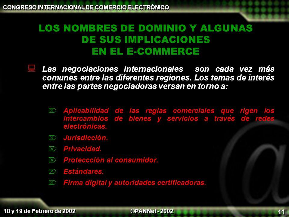 ©PANNet - 2002 CONGRESO INTERNACIONAL DE COMERCIO ELECTRÓNICO 18 y 19 de Febrero de 2002 11 LOS NOMBRES DE DOMINIO Y ALGUNAS DE SUS IMPLICACIONES EN EL E-COMMERCE Las negociaciones internacionales son cada vez más comunes entre las diferentes regiones.