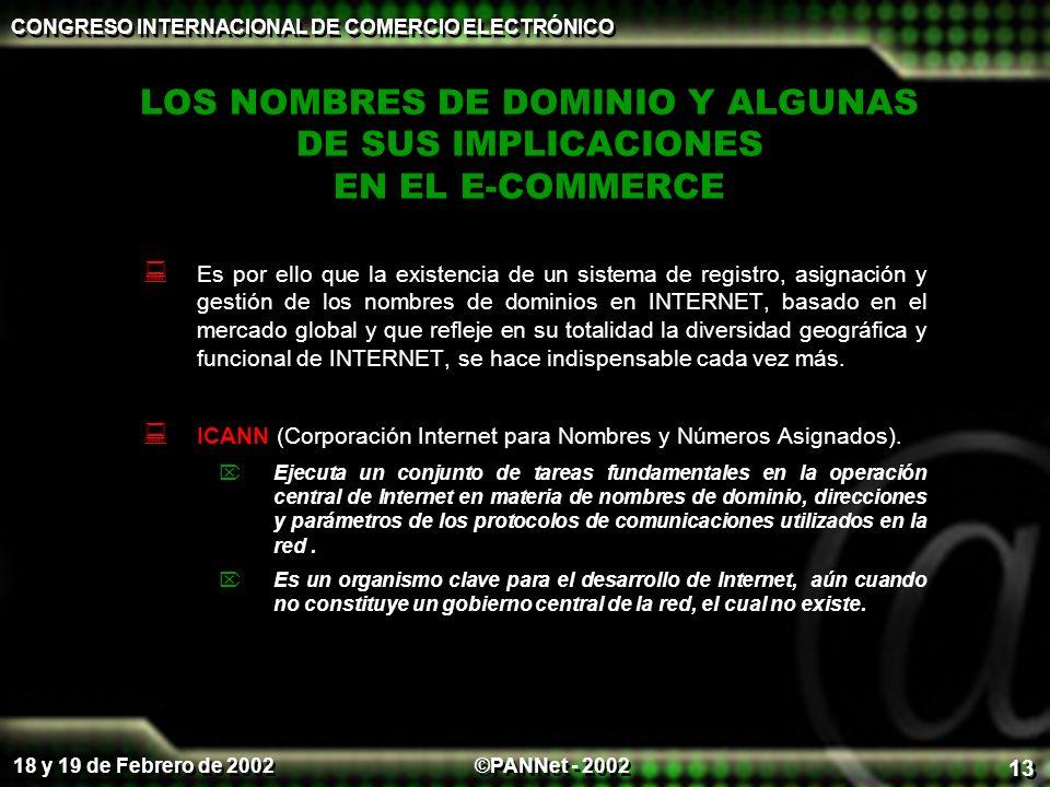 ©PANNet - 2002 CONGRESO INTERNACIONAL DE COMERCIO ELECTRÓNICO 18 y 19 de Febrero de 2002 13 LOS NOMBRES DE DOMINIO Y ALGUNAS DE SUS IMPLICACIONES EN E