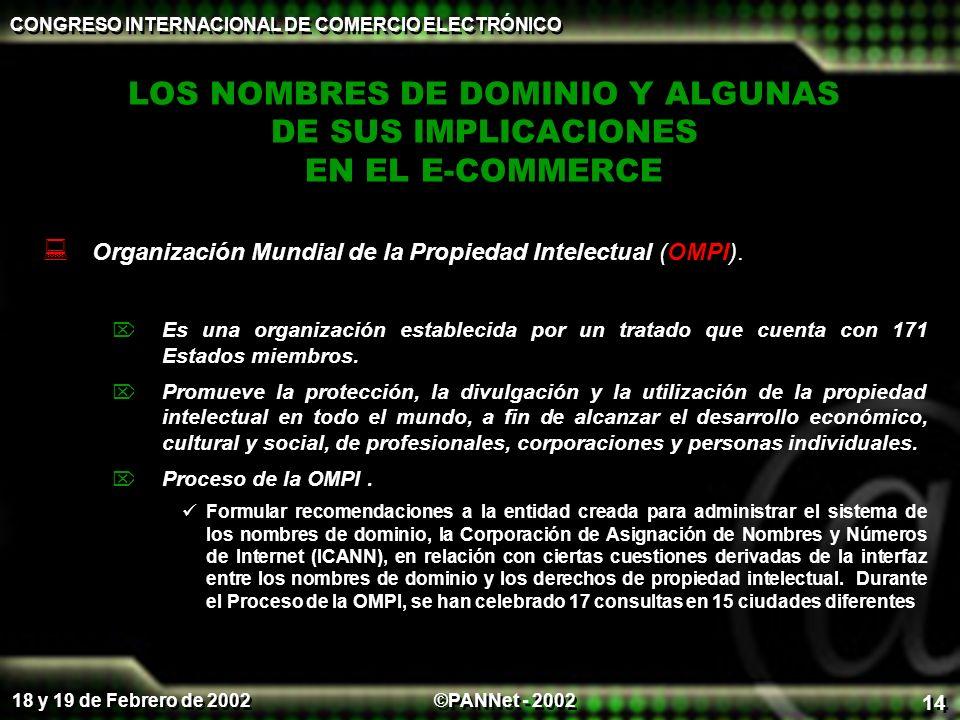 ©PANNet - 2002 CONGRESO INTERNACIONAL DE COMERCIO ELECTRÓNICO 18 y 19 de Febrero de 2002 14 LOS NOMBRES DE DOMINIO Y ALGUNAS DE SUS IMPLICACIONES EN EL E-COMMERCE Organización Mundial de la Propiedad Intelectual (OMPI).